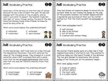 Fall Vocabulary Skills Task Cards
