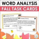 Fall Word Analysis Skills Task Cards