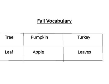 Fall Vocabulary Tree