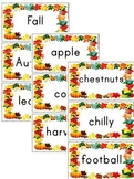 Fall Vocabulary Wall Word ~ Flash Cards (60 Words)