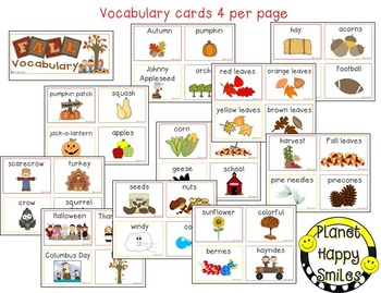 Fall Vocabulary Word Bank Cards and Powerpoint Slides