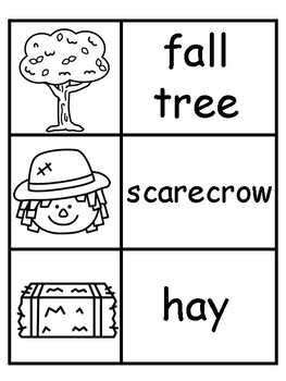 Fall Vocabulary Word Cards