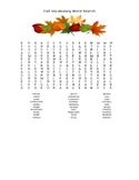 Fall Vocabulary Word Search