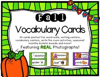 Fall Vocabulary Word Wall Cards with REAL photos!