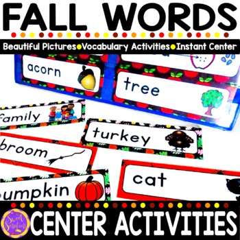 Fall Vocabulary Words (Johnny Appleseed, Halloween, Fall, Thanksgiving) BUNDLE!!