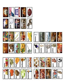 Fall Picture Vocabulary Word Wall Cards and Individual Word Wall