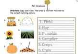Fall Vocabulary Worksheet #2