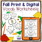 Fall Vocabulary Worksheets for Speech Therapy