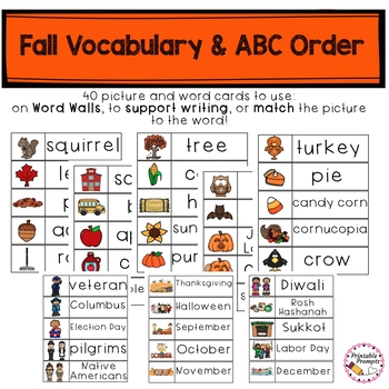 Fall Vocabulary and ABC Order