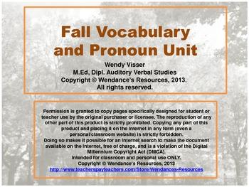 Fall Vocabulary, Pronoun and Math Unit