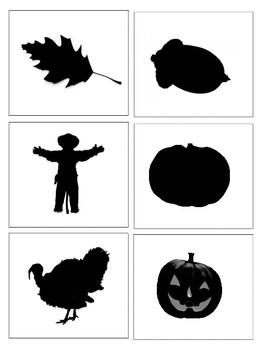 Autumn Vocabulary and Silhouette Match--Montessori Matching Activity--Fall