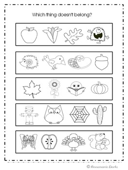 Fall Math and Literacy Packet -- No Prep!!