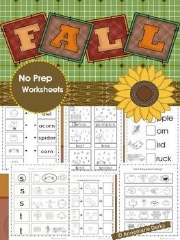 Fall Math and Literacy Packet -- No Prep!!