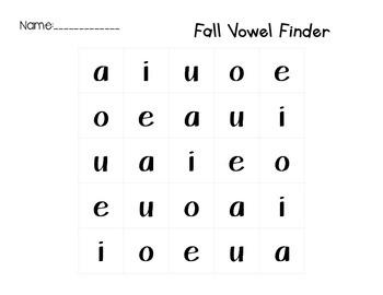 Fall Vowel Fine Motor Match Center