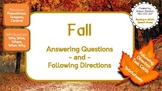 Fall WH Questions & Following Directions Speech (12 Worksheets, 96 Task Cards)