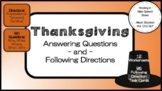 Thanksgiving WH Questions & Following Directions Speech (12 Worksheets,96 Cards)
