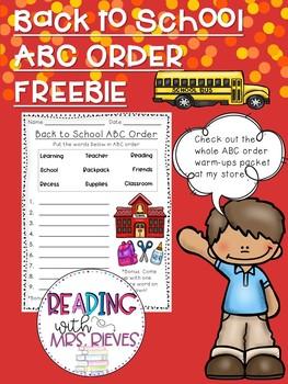 Back to School Warm-Up Freebie