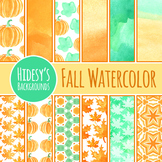 Fall Watercolor Backgrounds / Digital Papers / Patterns Clip Art Commercial Use