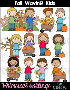 Fall Waving Kids Clipart Collection