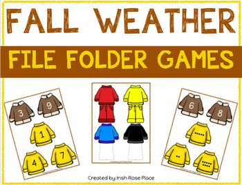 Fall Weather Math File Folders