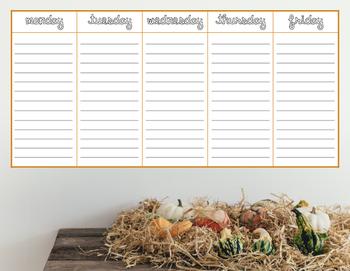 Fall Weekday Planner Freebie