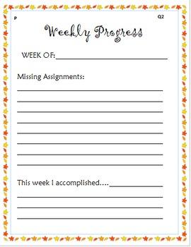 Fall Weekly Progress Form