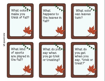 """Fall """"Wh"""" Question Task Cards - Kindergarten {common core aligned}"""