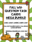 Fall Wh-Questions Task Cards Bundle w/BINGO and Dots:Who, What, Where, When, Why