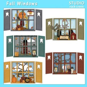 Fall Windows Clip Art Color  personal & comm use Primsy Resale