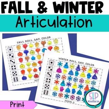 Fall Winter Articulation Roll Say Color Bundle Pack - Speech Therapy
