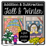 Fall & Winter Coloring: Addition and Subtraction Facts