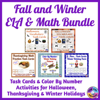 Fall & Winter ELA and Math Task Cards and Color By Number BUNDLE