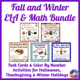 Fall and Winter ELA and Math Task Cards and Color By Numbe