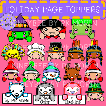 Fall & Winter Holiday Page Toppers - Clip Art
