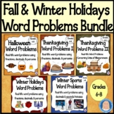 Fall & Winter Holidays Math Word Problems BUNDLE: Decimals, Percents, Min/Sec