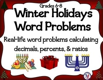 Fall & Winter Holidays Math Word Problems BUNDLE: Decimals, Percents, Min/Sec