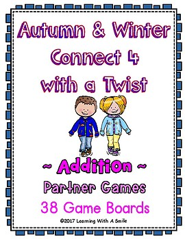 Math Fluency ~ CONNECT 4 Addition ~ Fall & Winter- 38 Game Boards Included