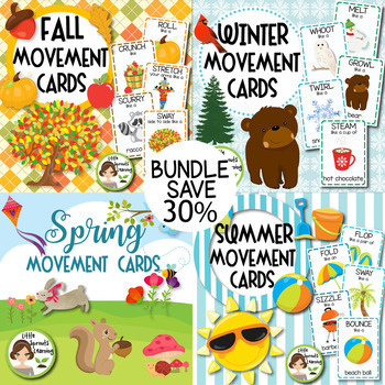 Fall, Winter, Spring, Summer Movement Cards BUNDLE