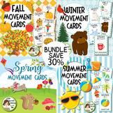 Fall, Winter, Spring, Summer Brain Breaks Movement Cards BUNDLE