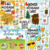 Fall, Winter, Spring, Summer Brain Breaks Movement Cards BUNDLE
