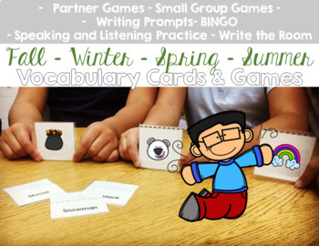 Fall Winter Spring Summer Vocabulary Cards and Games Bundle