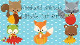 Fall Woodland Animals Editable Cut Outs