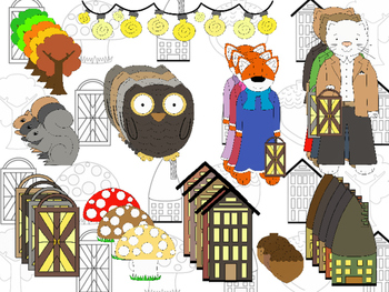 Fall Fantasy Woodland Animals Clipart (Personal & Commercial Use)