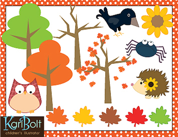 Fall Woods and Animals Clip Art