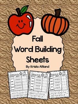 Fall Word Building Sheets: Read It, Build It, Write It!