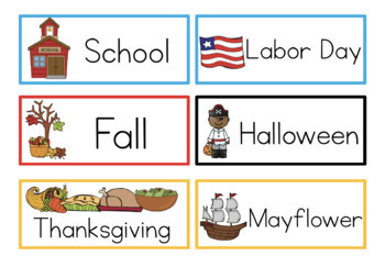 Writing Center Fall Word Cards