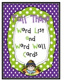 Fall Word List and Word Wall Cards
