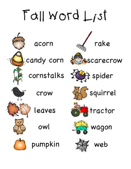 fall word list and word wall cards by robynn dr tpt