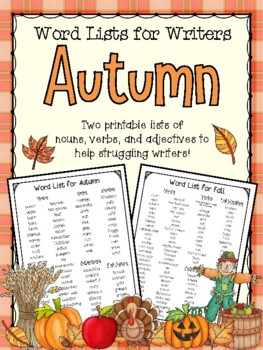 Fall Word List for Writers