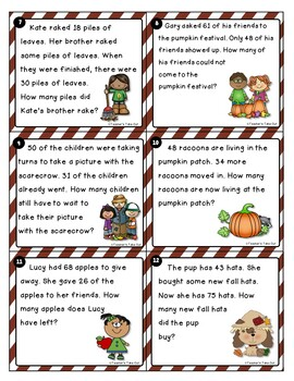Fall Word Problem Task Cards Using 2-Digit Addition/Subtraction